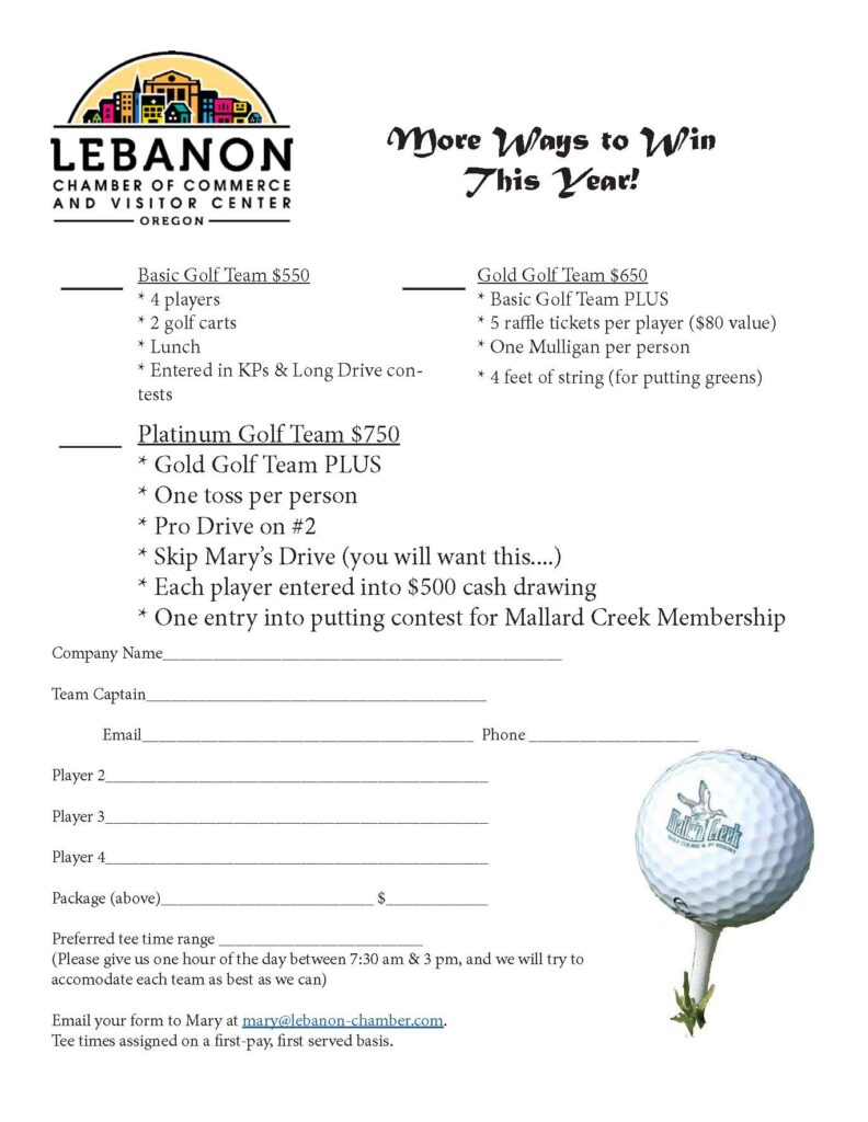 Lebanon Chamber Golf Flier Page 2