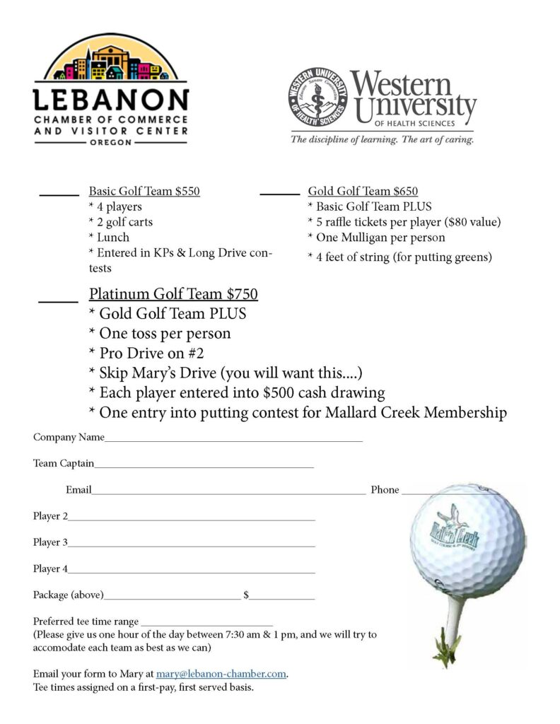 2021 Leb Chamber Golf Tournament Flier Page 2